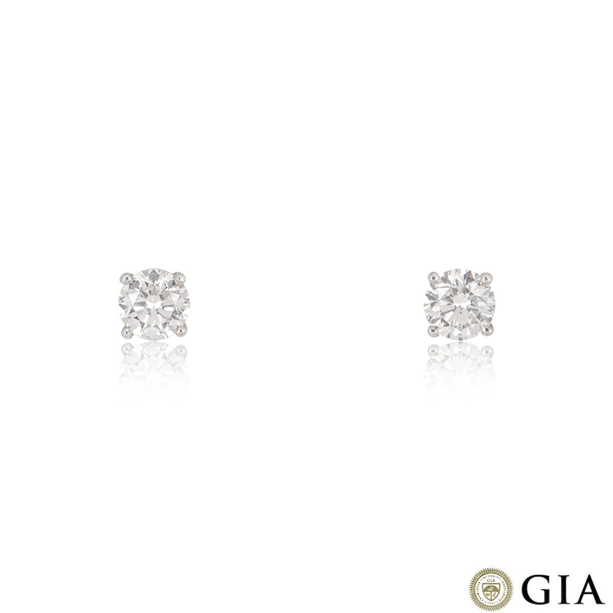 White Gold Round Brilliant Cut Diamond Earrings 1.60ct TDW